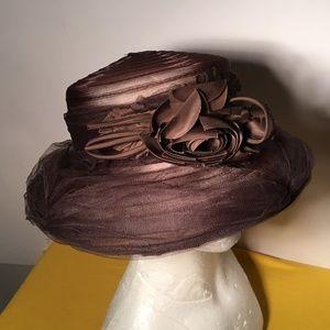 Liz Claiborne Brown Tulle Net Hat  NWT